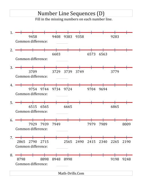 The Increasing and Decreasing Number Line Sequences with Missing Numbers (Max. 10000) with Custom Common Differences (D) Math Worksheet