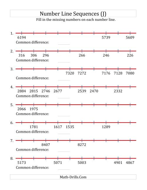 The Decreasing Number Line Sequences with Missing Numbers (Max. 10000) (J) Math Worksheet