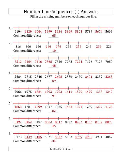 The Decreasing Number Line Sequences with Missing Numbers (Max. 10000) (J) Math Worksheet Page 2