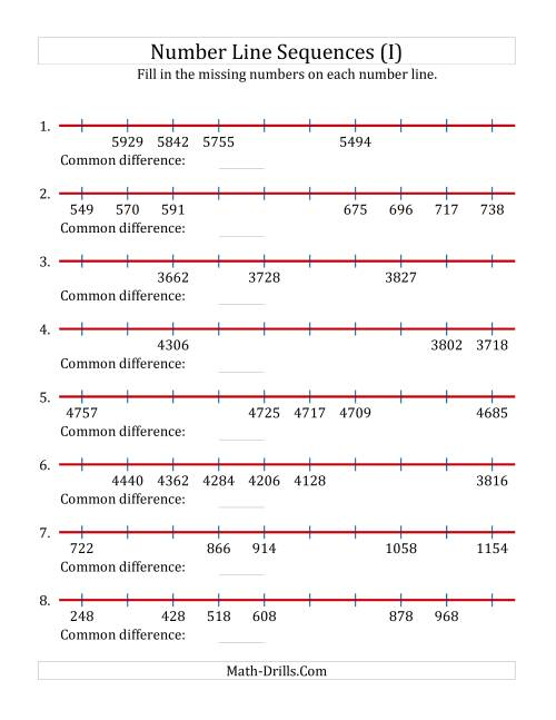 The Increasing and Decreasing Number Line Sequences with Missing Numbers (Max. 10000) (I) Math Worksheet