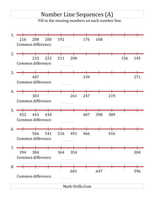 The Decreasing Number Line Sequences with Missing Numbers (Max. 1000) (A) Math Worksheet