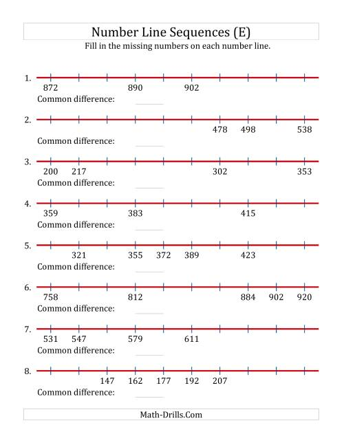 The Increasing Number Line Sequences with Missing Numbers (Max. 1000) (E) Math Worksheet