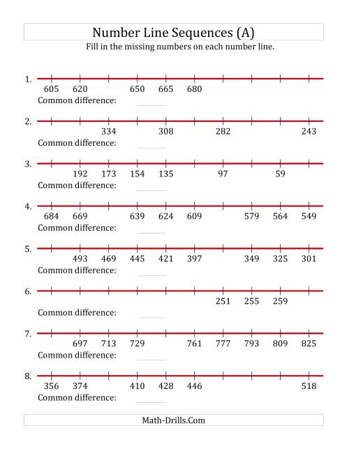The Increasing and Decreasing Number Line Sequences with Missing Numbers (Max. 1000) (A) Math Worksheet