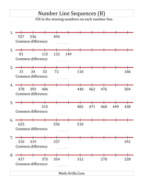 The Increasing and Decreasing Number Line Sequences with Missing Numbers (Max. 1000) (B) Math Worksheet
