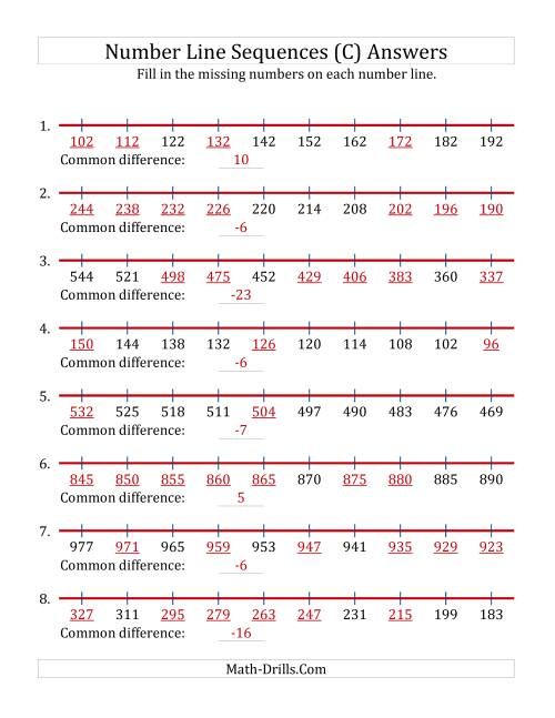 The Increasing and Decreasing Number Line Sequences with Missing Numbers (Max. 1000) (C) Math Worksheet Page 2
