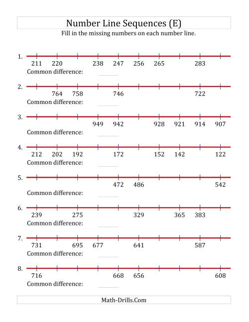 The Increasing and Decreasing Number Line Sequences with Missing Numbers (Max. 1000) (E) Math Worksheet