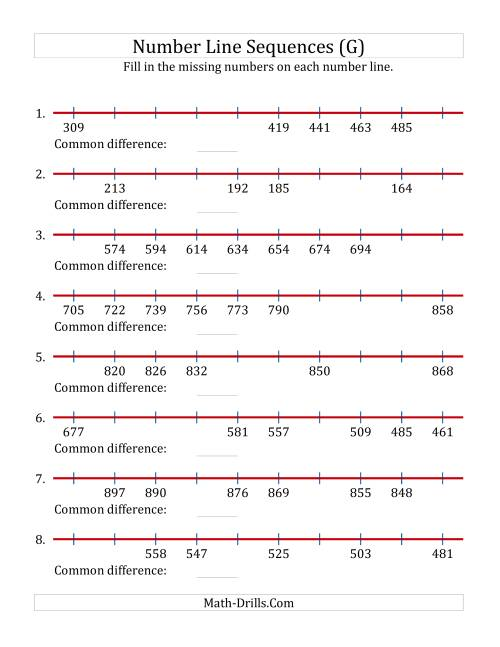 The Increasing and Decreasing Number Line Sequences with Missing Numbers (Max. 1000) (G) Math Worksheet