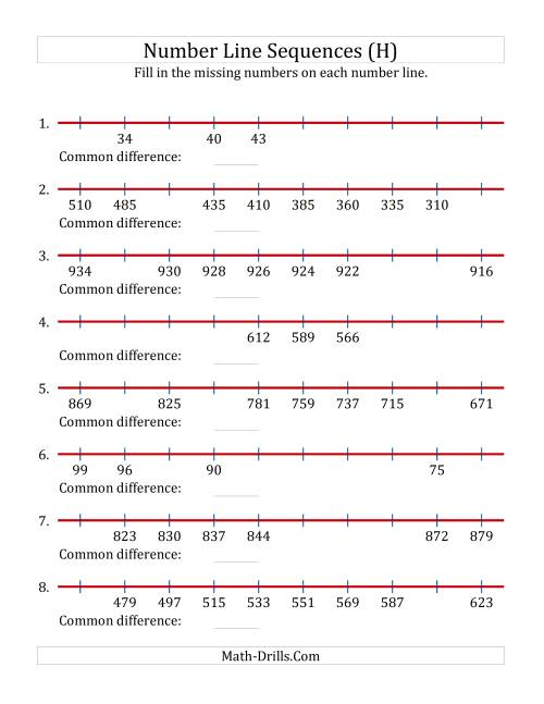 The Increasing and Decreasing Number Line Sequences with Missing Numbers (Max. 1000) (H) Math Worksheet