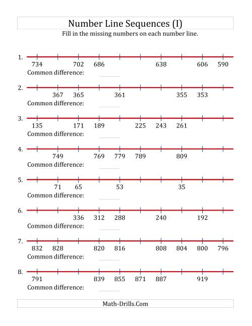 The Increasing and Decreasing Number Line Sequences with Missing Numbers (Max. 1000) (I) Math Worksheet