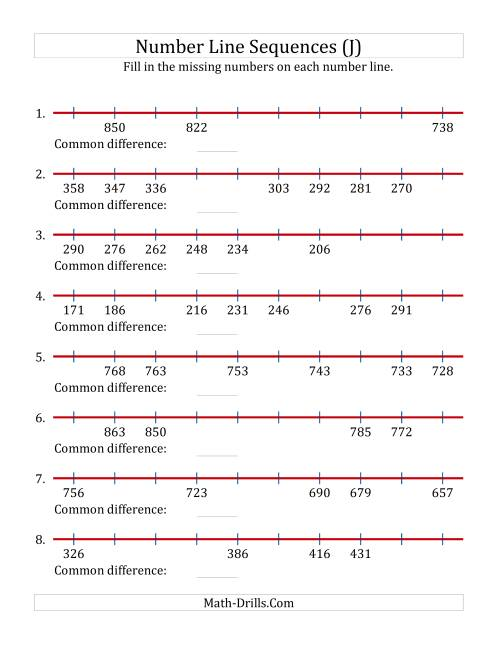 The Increasing and Decreasing Number Line Sequences with Missing Numbers (Max. 1000) (J) Math Worksheet