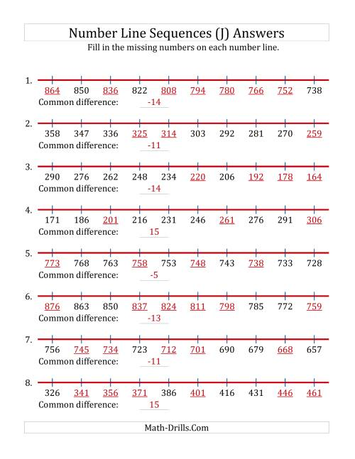 The Increasing and Decreasing Number Line Sequences with Missing Numbers (Max. 1000) (J) Math Worksheet Page 2