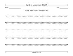 Number Lines from 0 to 50 counting by 1
