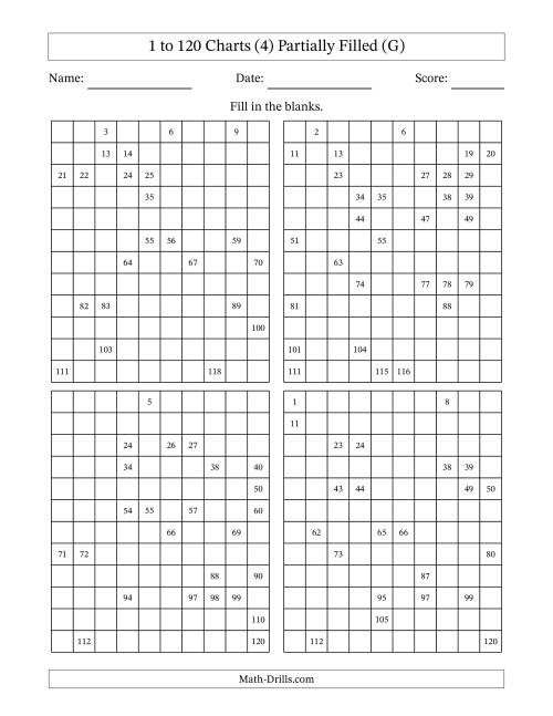 The Partially Completed 120 Charts (4) (G) Math Worksheet