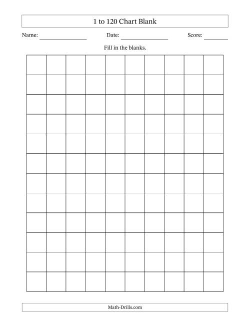 photograph about Printable 120 Chart referred to as Blank 120 Chart