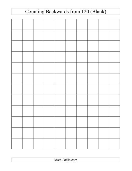 The Backwards 120 Chart (Blank) (C) Math Worksheet