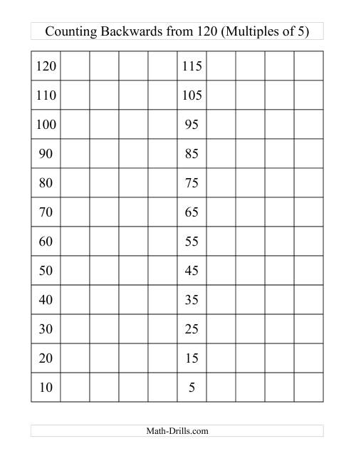 The Backwards 120 Chart With Multiples of 5 (C) Math Worksheet