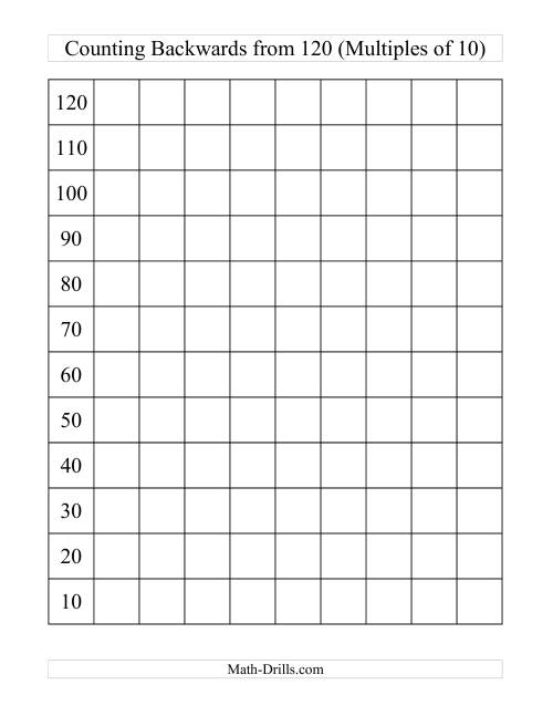 The Backwards 120 Chart With Multiples of 10 (H) Math Worksheet