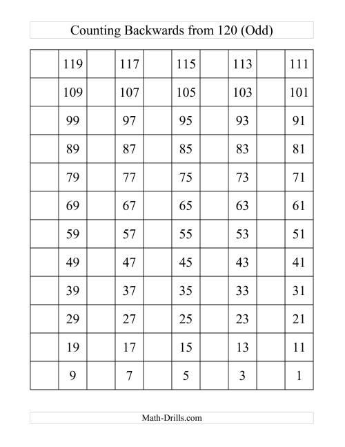Blank Hundreds Chart Printable Backwards 120 chart with odd
