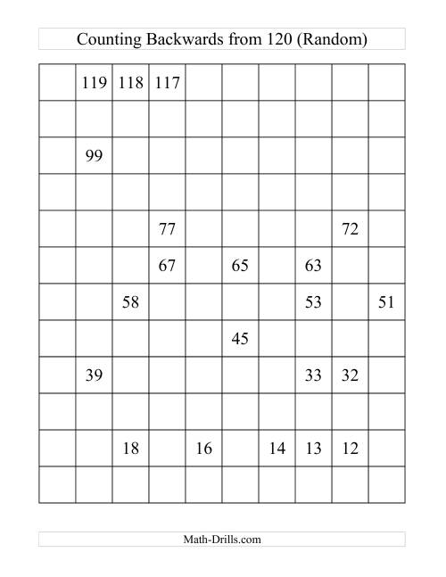 The Backwards 120 Chart Partially Filled (A) Math Worksheet