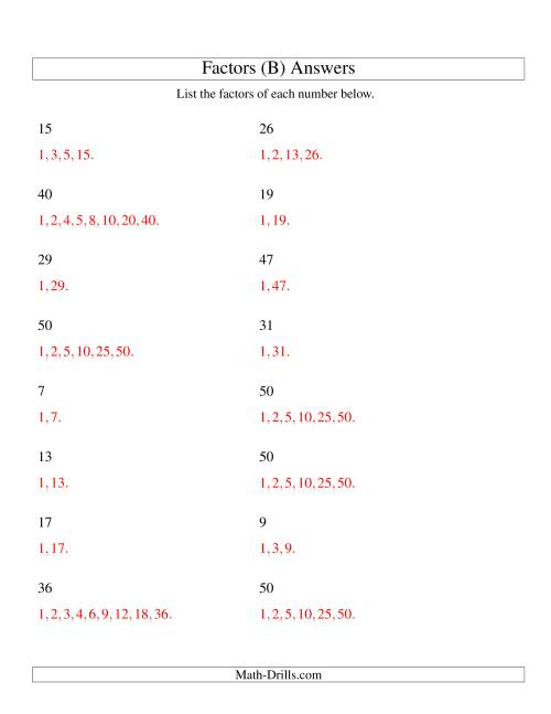 The Finding All Factors of a Number (range 4 to 50) (B) Math Worksheet Page 2