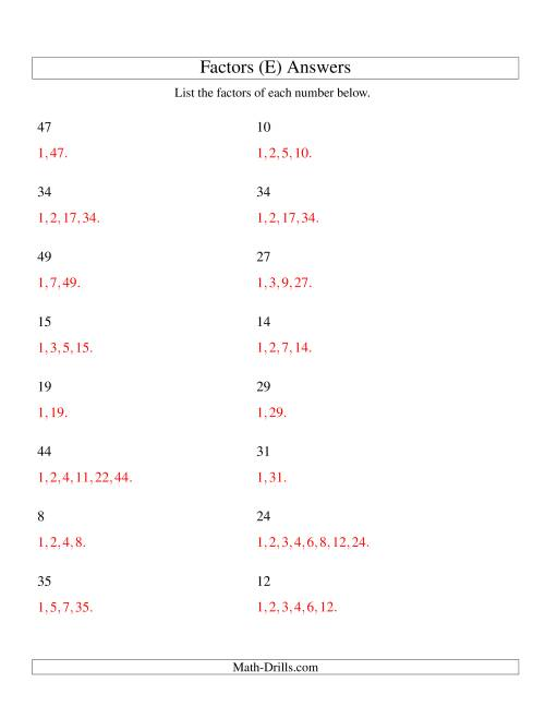 The Finding All Factors of a Number (range 4 to 50) (E) Math Worksheet Page 2