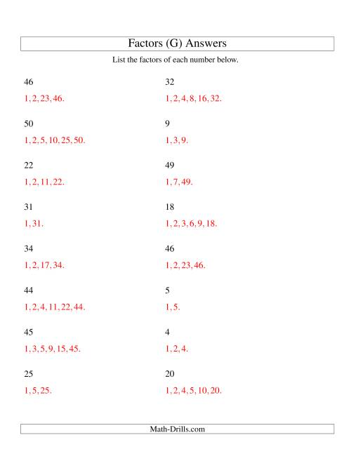 The Finding All Factors of a Number (range 4 to 50) (G) Math Worksheet Page 2