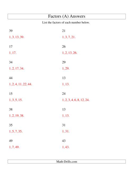 The Finding All Factors of a Number (range 4 to 50) (All) Math Worksheet Page 2