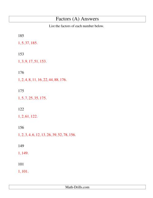 The Finding All Factors of a Number (range 100 to 200) (A) Math Worksheet Page 2