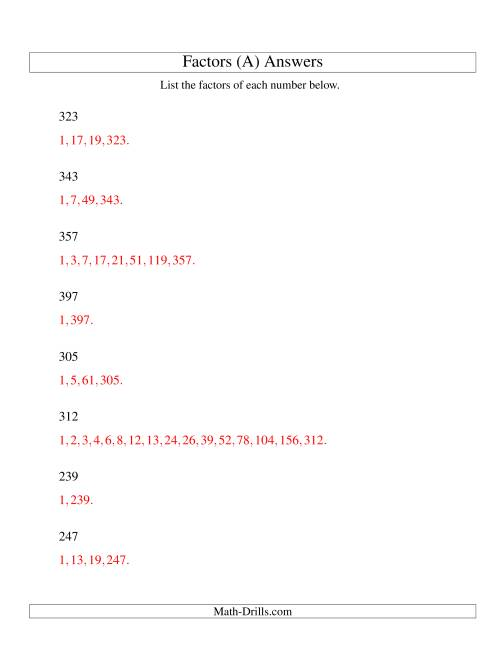 The Finding All Factors of a Number (range 200 to 400) (A) Math Worksheet Page 2