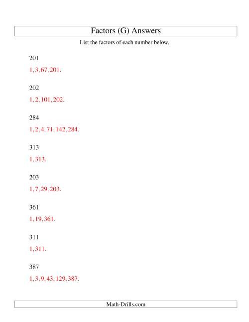 The Finding All Factors of a Number (range 200 to 400) (G) Math Worksheet Page 2