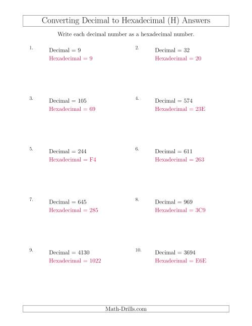 The Converting Decimal Numbers to Hexadecimal Numbers (H) Math Worksheet Page 2