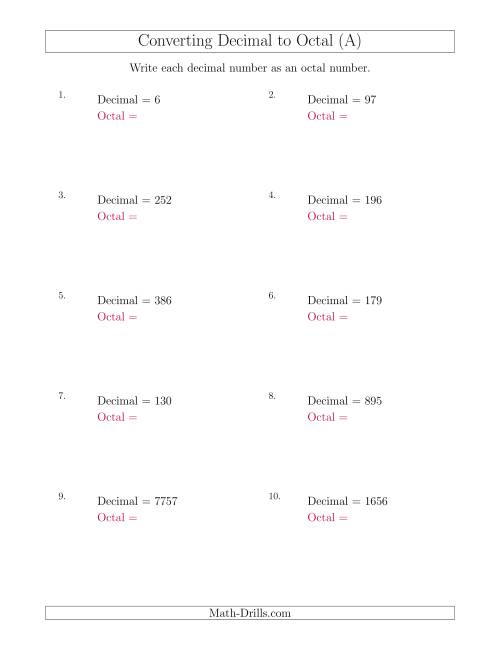 The Converting Decimal Numbers to Octal Numbers (A) Math Worksheet