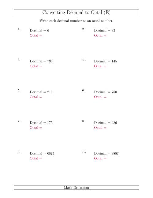 The Converting Decimal Numbers to Octal Numbers (E) Math Worksheet