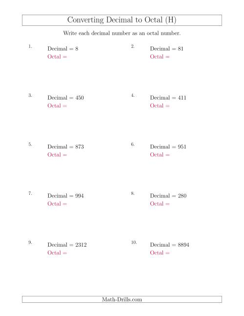 The Converting Decimal Numbers to Octal Numbers (H) Math Worksheet