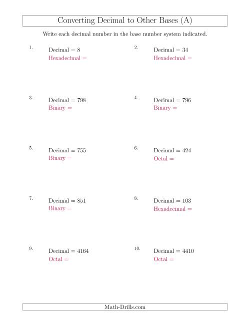The Converting Decimal Numbers to Other Base Systems (A) Math Worksheet