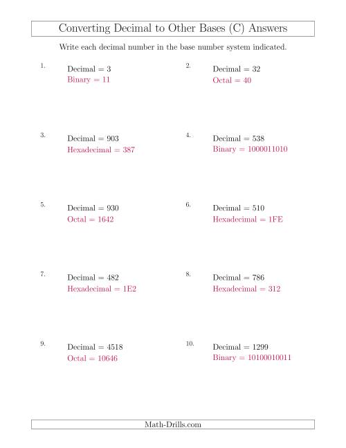 The Converting Decimal Numbers to Other Base Systems (C) Math Worksheet Page 2