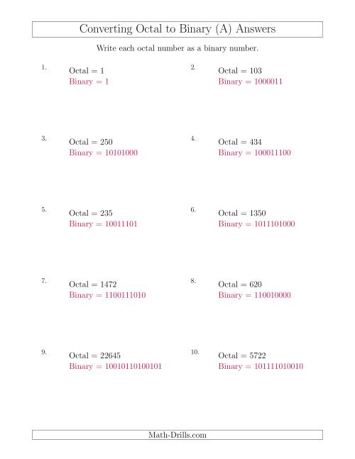 The Converting Octal Numbers to Binary Numbers (A) Math Worksheet Page 2