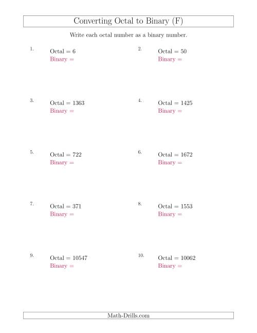 The Converting Octal Numbers to Binary Numbers (F) Math Worksheet