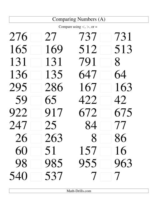 The Comparing Numbers to 1000 Tight (LP) Math Worksheet