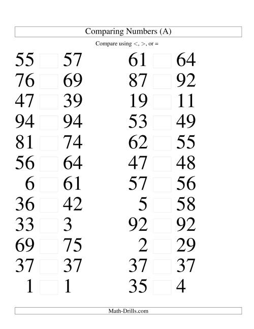The Comparing Numbers to 100 Tight (LP) Math Worksheet