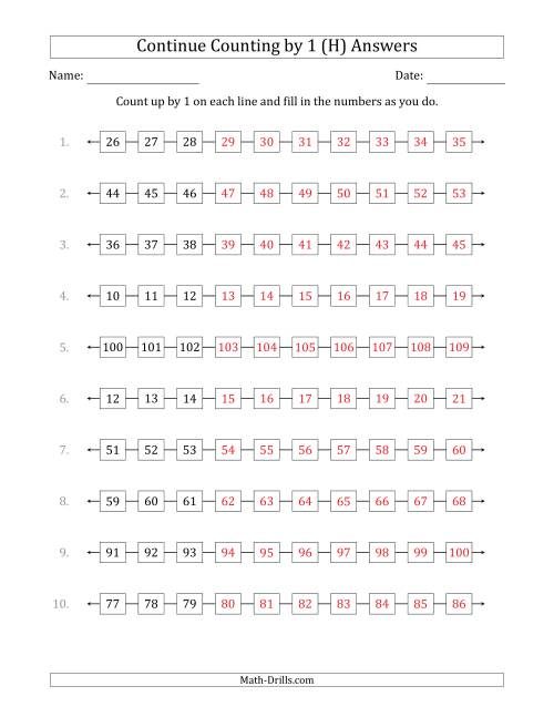 The Continue Counting Up by 1 from Various Starting Numbers (H) Math Worksheet Page 2