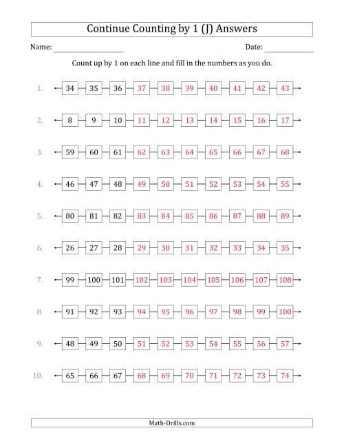 The Continue Counting Up by 1 from Various Starting Numbers (J) Math Worksheet Page 2
