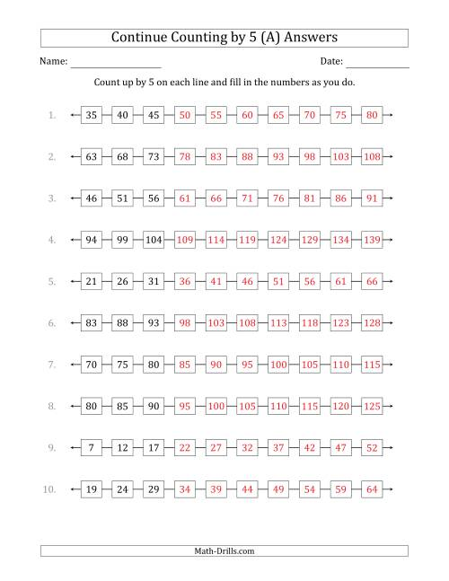 The Continue Counting Up by 5 from Various Starting Numbers (A) Math Worksheet Page 2