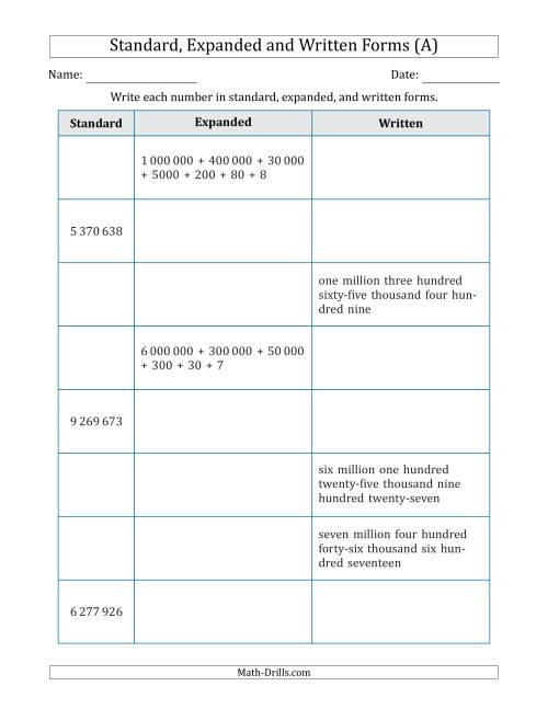 The Converting Between Standard, Expanded and Written Forms (7-Digit) SI Version (A) Math Worksheet