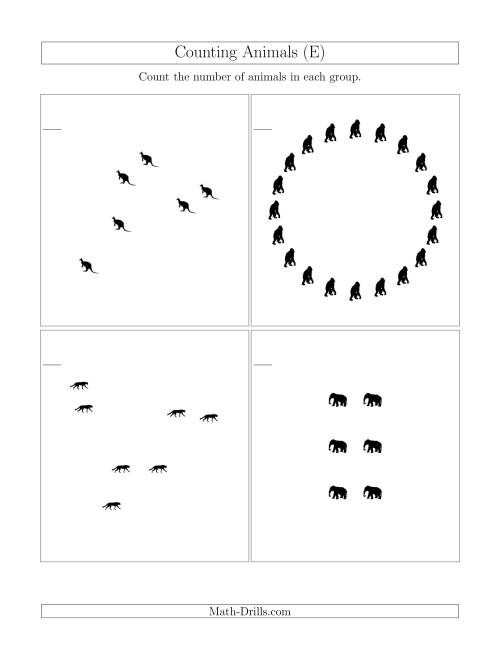 The Counting Animals in Mixed Arrangements (E) Math Worksheet