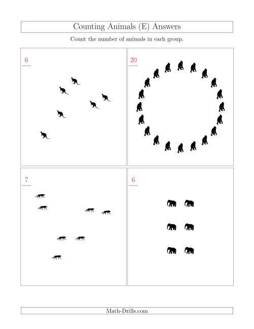 The Counting Animals in Mixed Arrangements (E) Math Worksheet Page 2