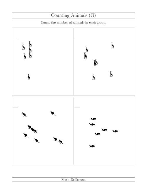 The Counting Animals in Scattered Arrangements (G) Math Worksheet