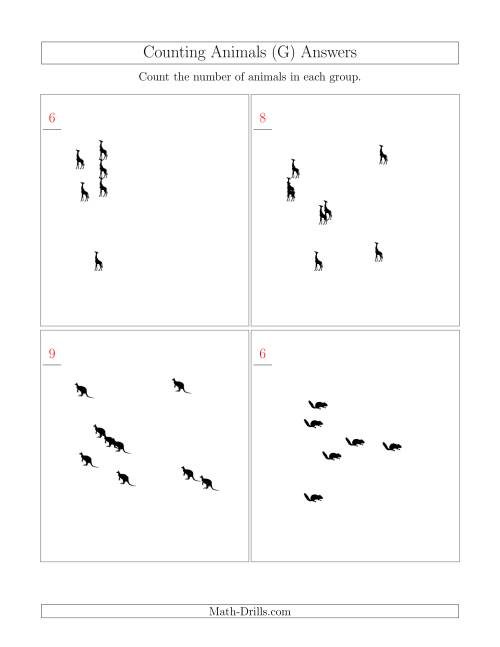 The Counting Animals in Scattered Arrangements (G) Math Worksheet Page 2