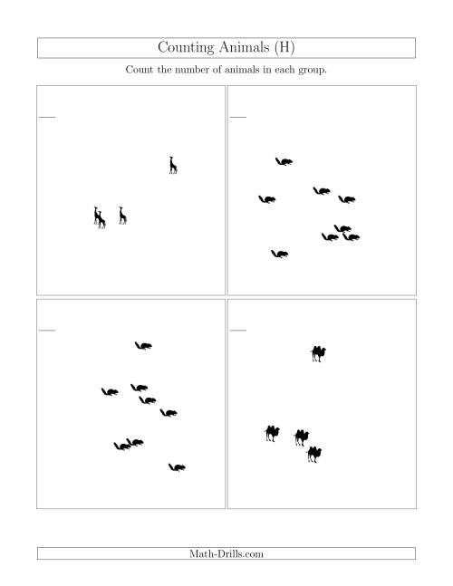 The Counting Animals in Scattered Arrangements (H) Math Worksheet