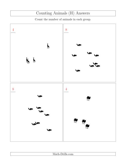 The Counting Animals in Scattered Arrangements (H) Math Worksheet Page 2